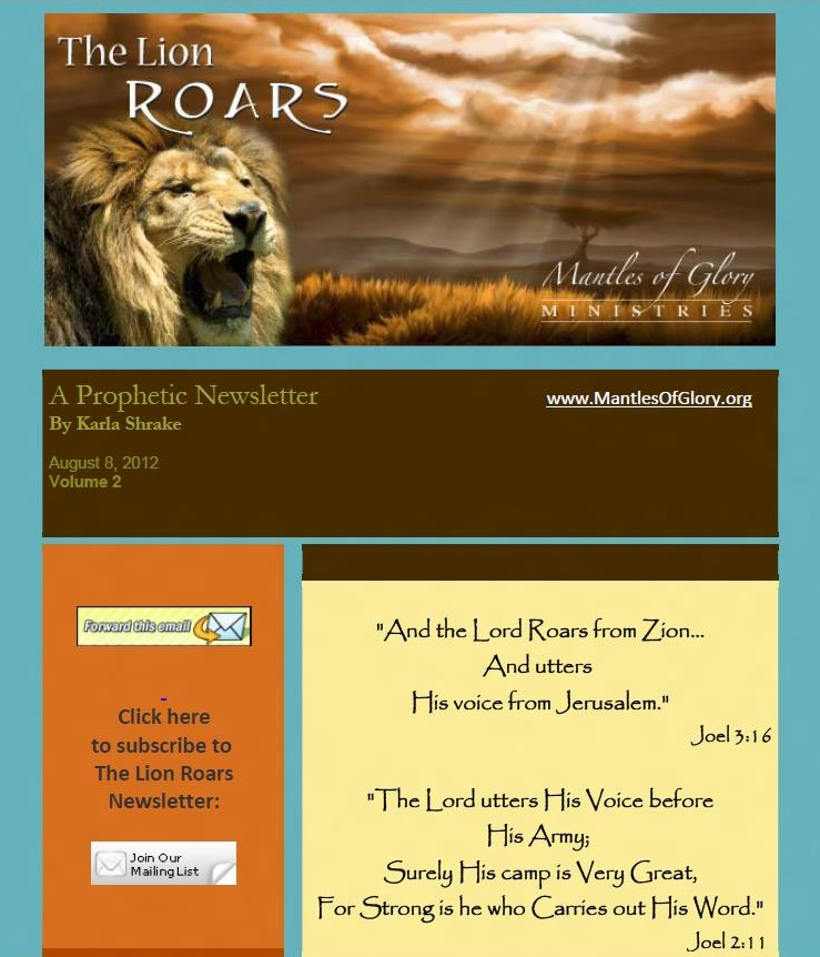 Volume Two of The Lion Roars Prophetic Newsletter